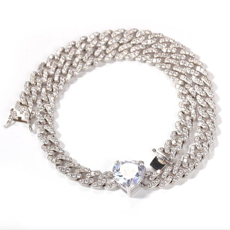 Iced Cuban Heart Choker 9mm Miami Cuban Link
