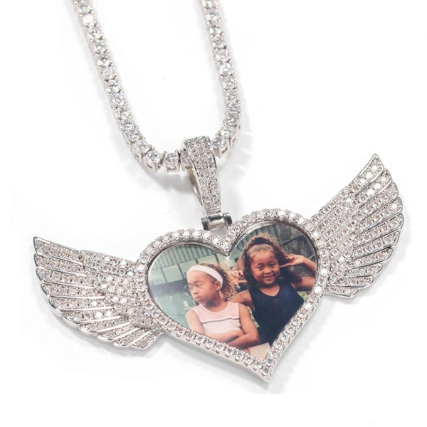 Iced Custom Photo Heart Wings Medallion 14K Gold Plated