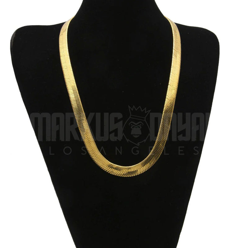 18K Gold Finish Herringbone Chain