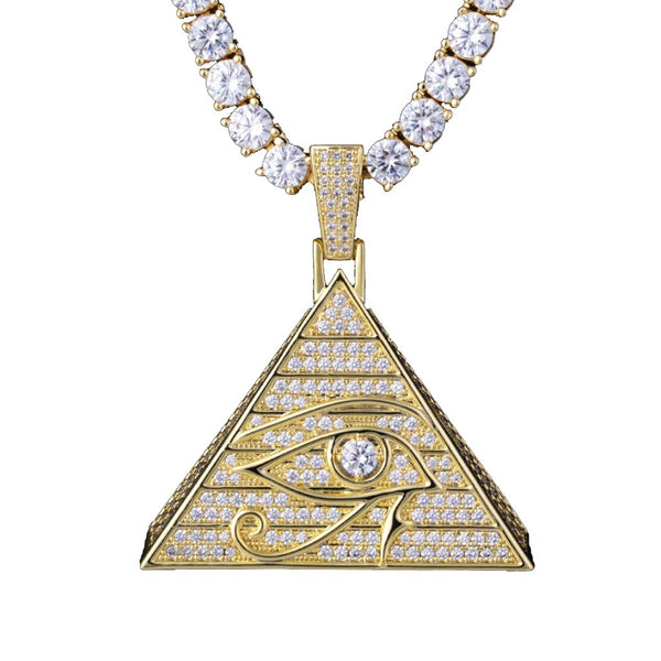 Iced Eye Of Horus Pyramid Pendant 14K Gold Plated