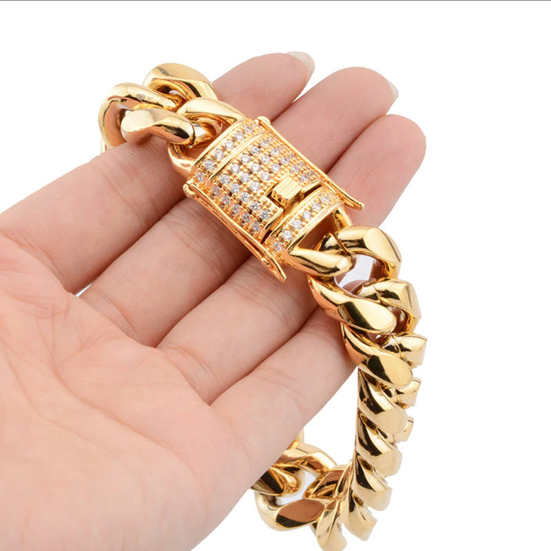 Iced Clasp Miami Cuban Bundle Chain&Bracelet 18K Gold Plated
