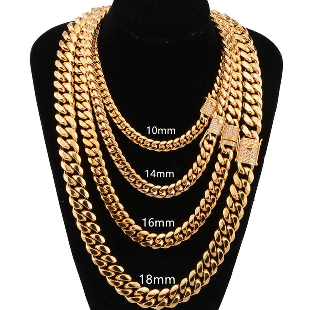 18K Gold Finish Cuban Chain Iced Clasp Bundle