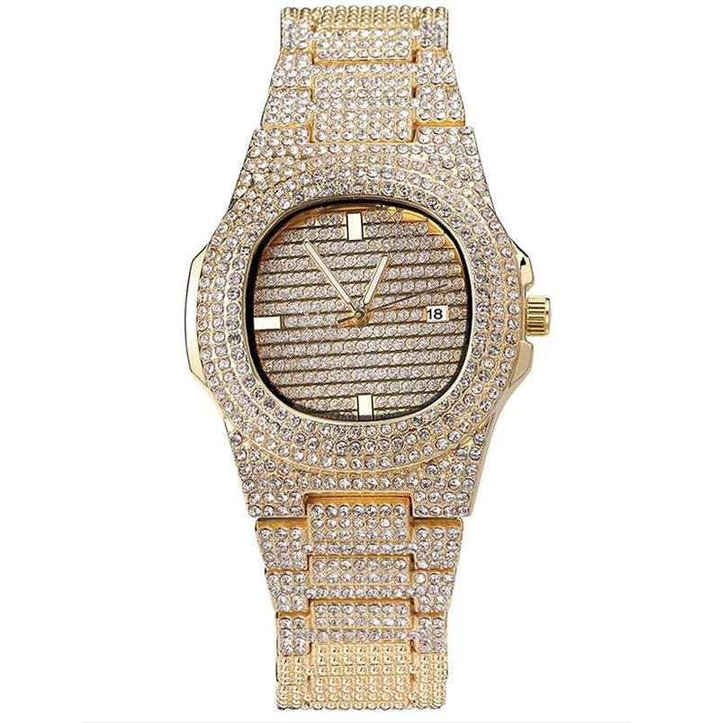 Iced Watch Silver Quartz 18K Gold Plated