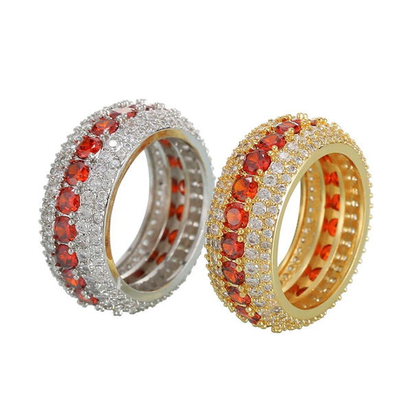 5 Row Royal Gold Eternity Red Ring