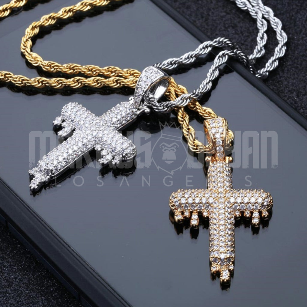 18K Gold Finish S925 Silver Iced Dripping Indian Cross