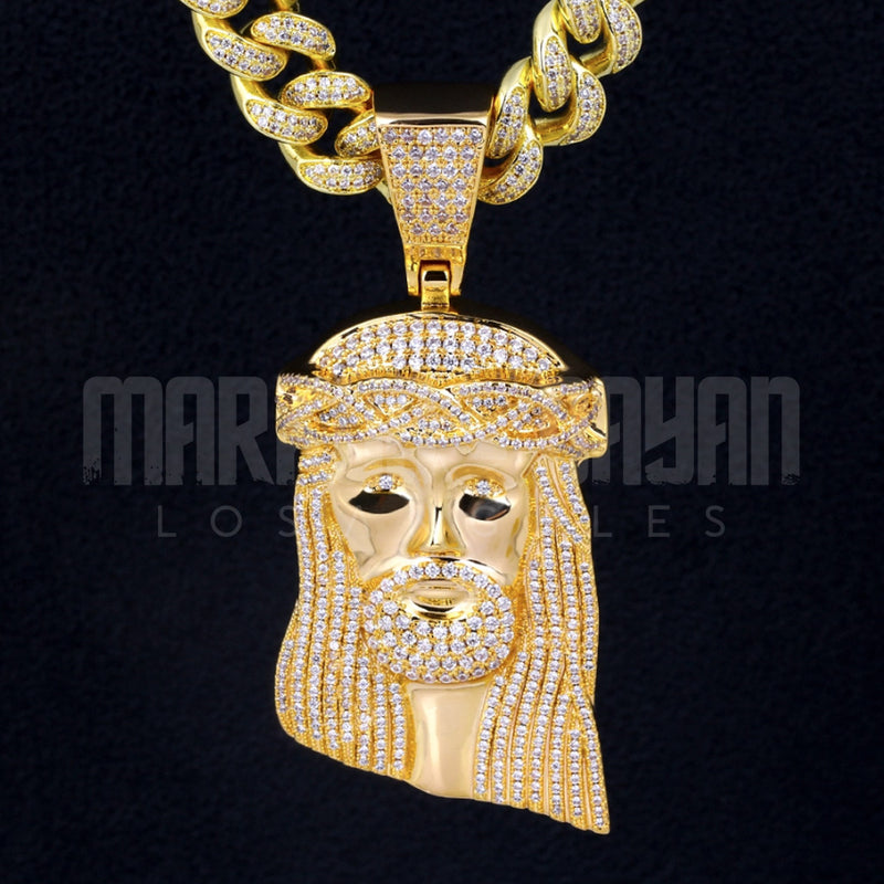 Iced Jesus Face Head Large Pendant 14K Gold Plated