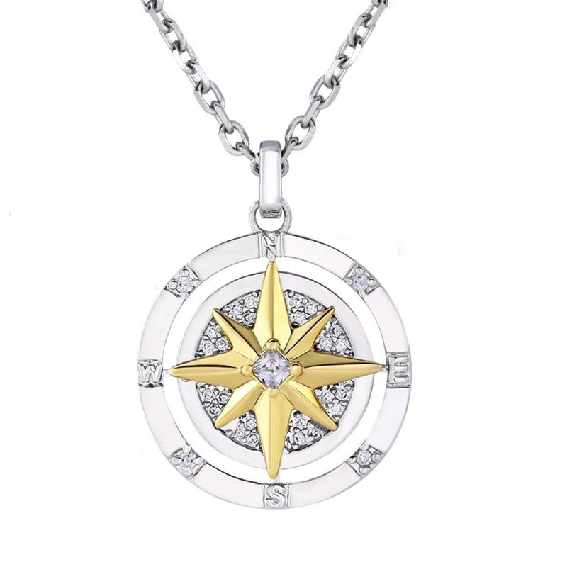 Iced Compass Pendant Necklace in White Gold/14K Gold/Rose Gold
