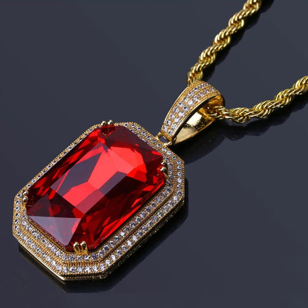 Iced Cube Ruby Pendant 14k Gold Plated