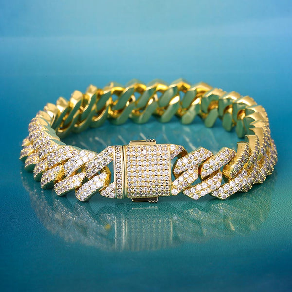 15mm Iced Prong Link Cuban Link Bracelet 14K Gold