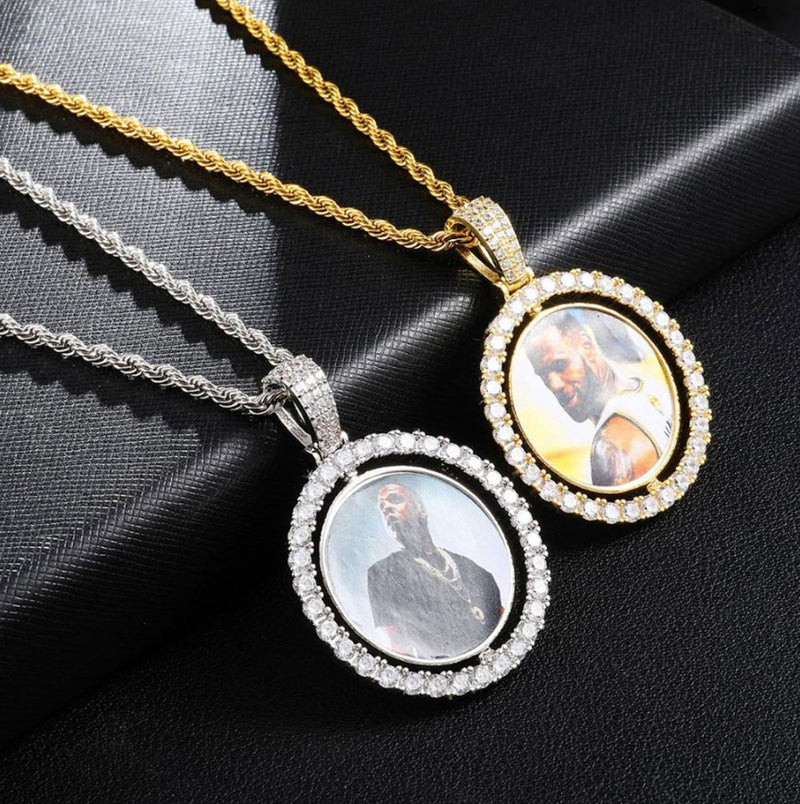 Iced Custom Photo Double Side Spinner Pendant 14K Gold