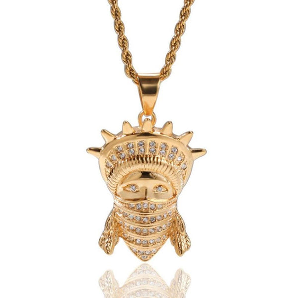 Iced Statue of Liberty Mask Gold Pendant