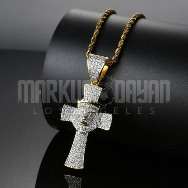 Iced Lion head crown cross Pendant 14k Gold Plated