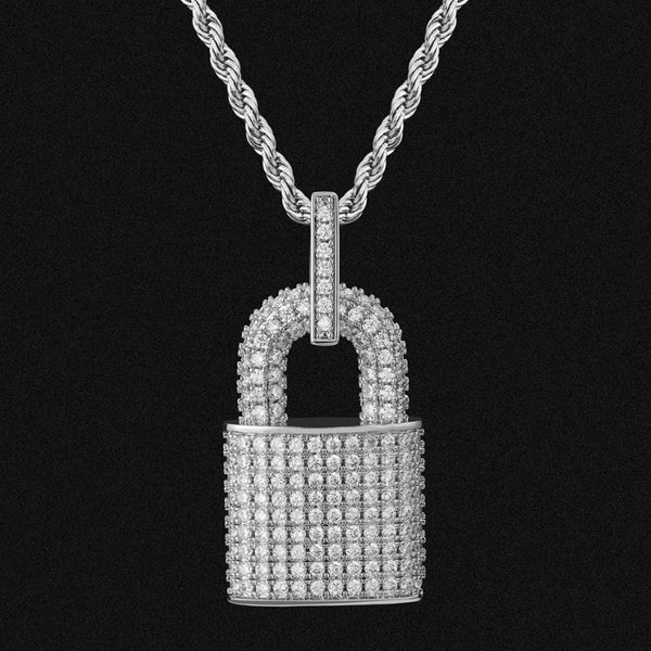 Iced Diamond Lock Chain Necklace 18k White Gold