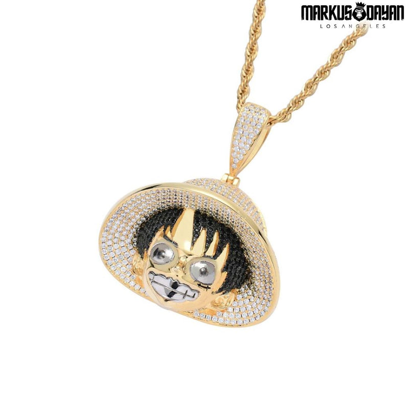 Iced Monkey D. Luffy Pendant 14K Gold Plated