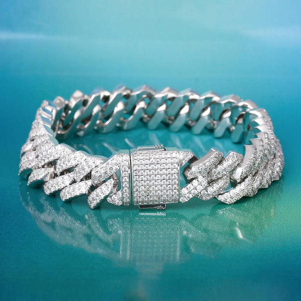 15mm Iced Prong Link Cuban Link Bracelet White Gold