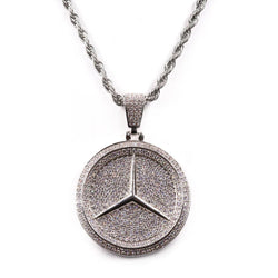 Iced Car Logo Pendant White Gold