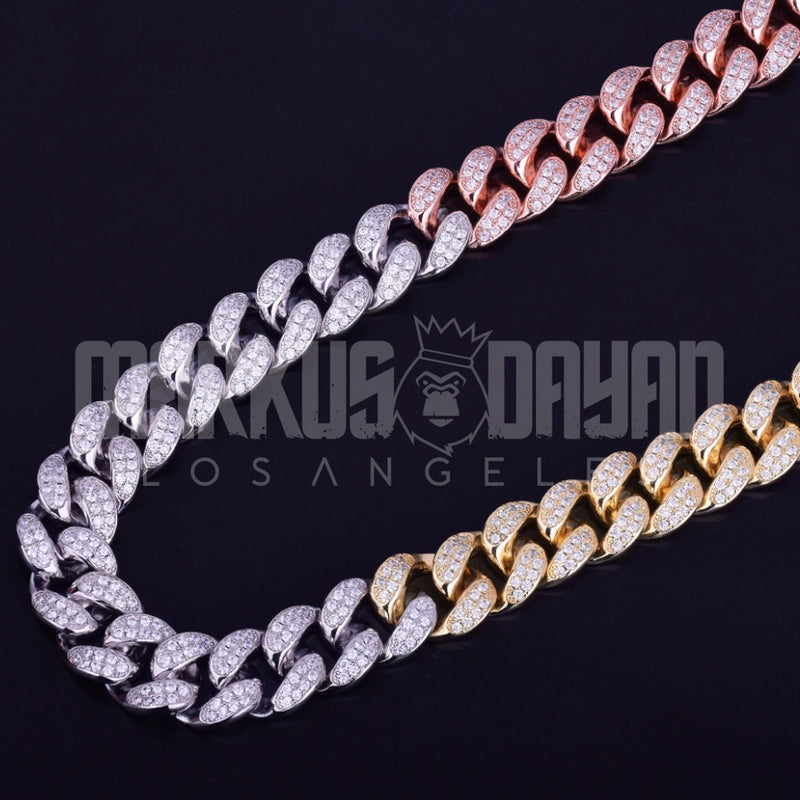 18mm Mixed Color Cuban Choker Bundle Chain&Bracelet