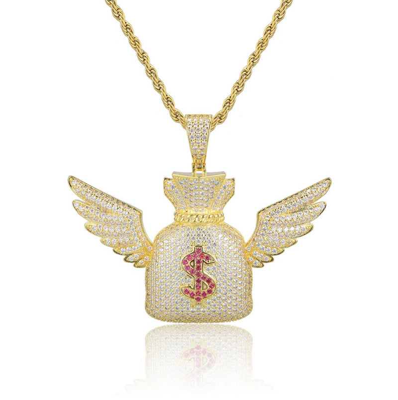 Iced Dollar Money Wings Bag Pendant 14K Gold Plated