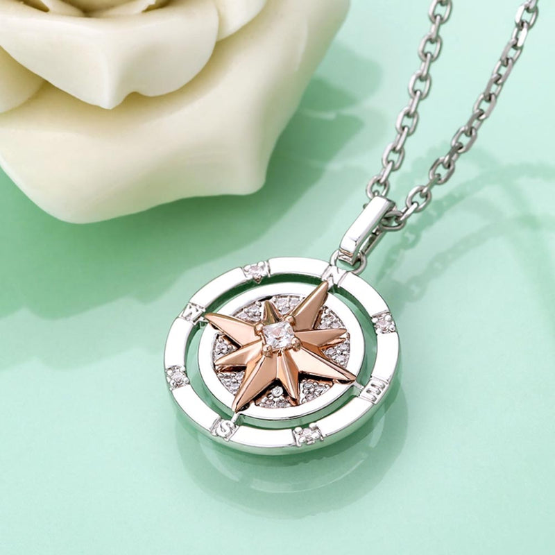 Iced Compass Pendant Necklace in White Gold/14K Gold/Rose Gold Women