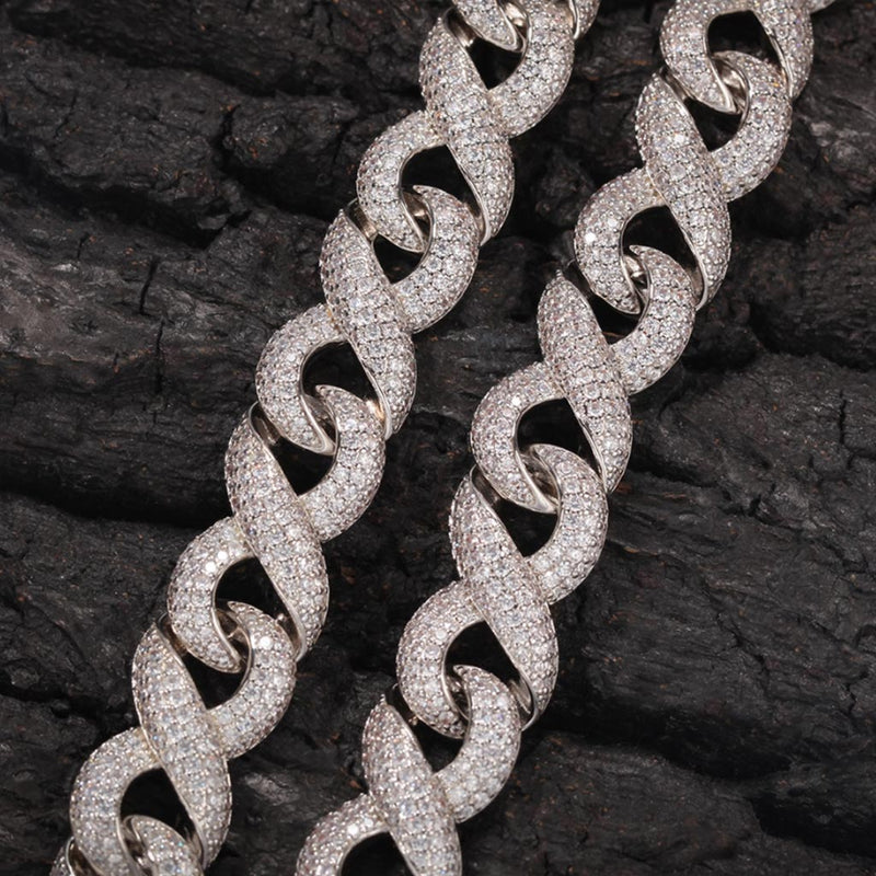 15mm Iced Infinity Chain with Box Clasp 18K Gold