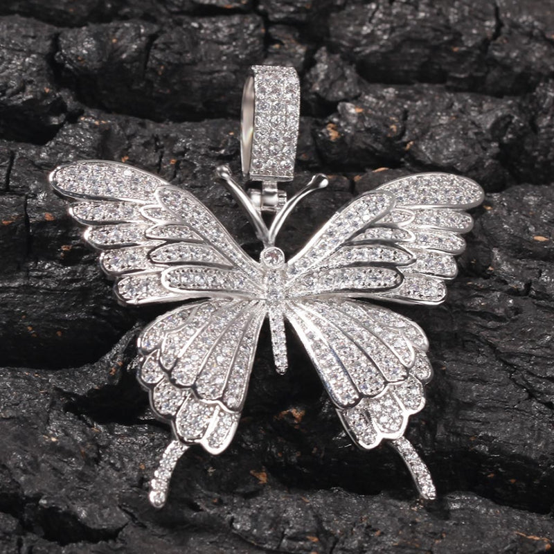 Iced  Butterfly Pendant Charm 14K Gold Plated