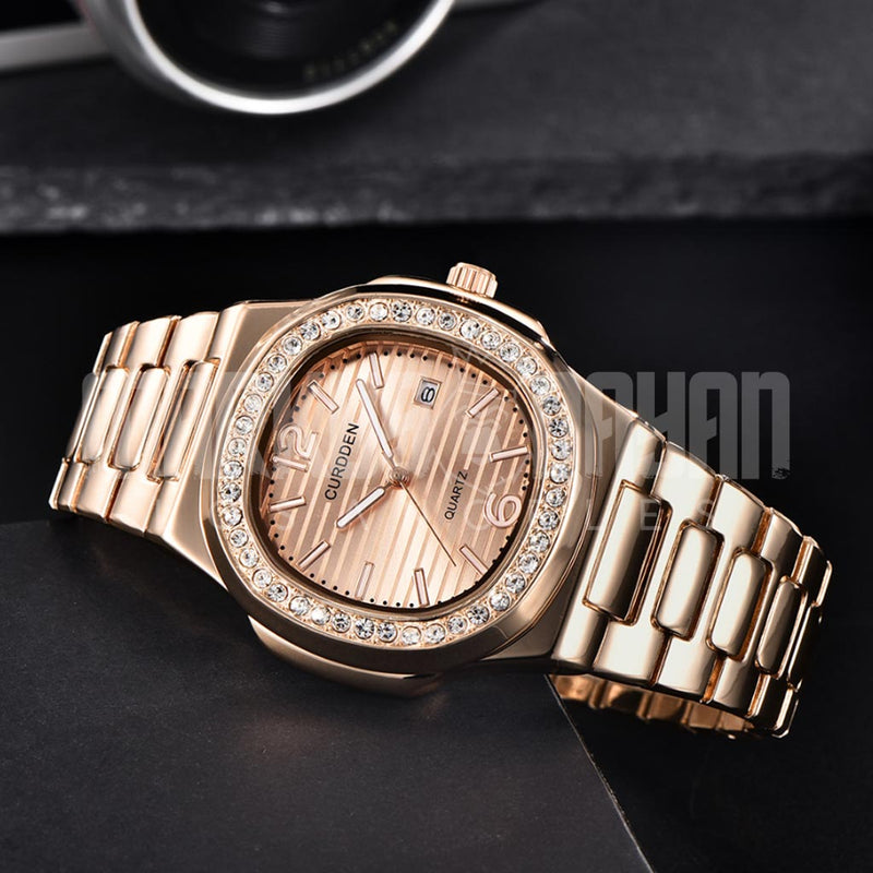 18K Gold Finish Luxury Square Watch
