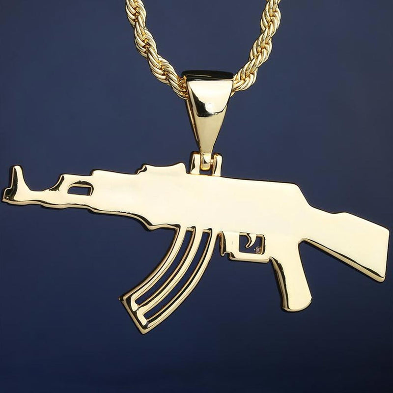 Iced AK47 Rifle Pendant 14K Gold Plated