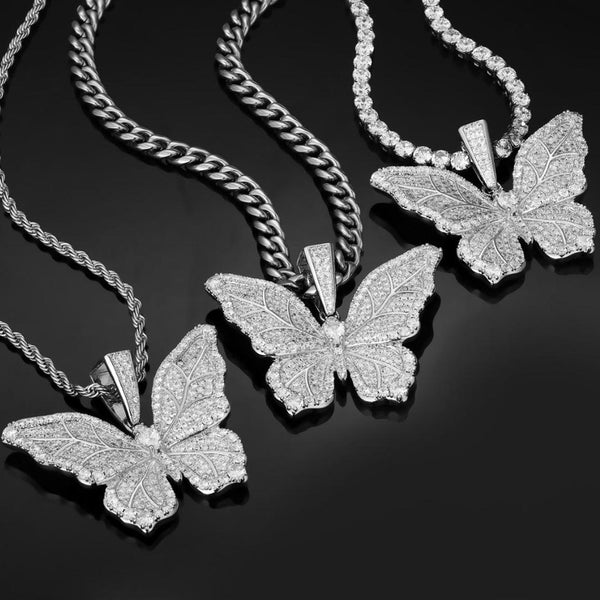 White Gold Butterfly Filled Crystal Necklace Pendant 14K Gold