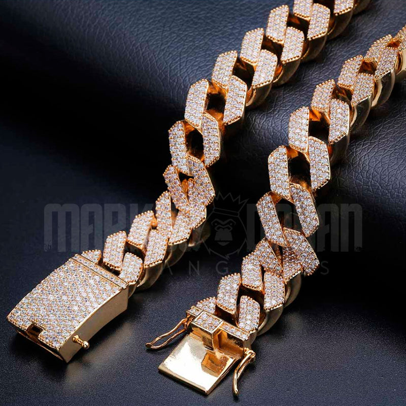 20mm Diamond Prong Cuban Chain  18K Gold