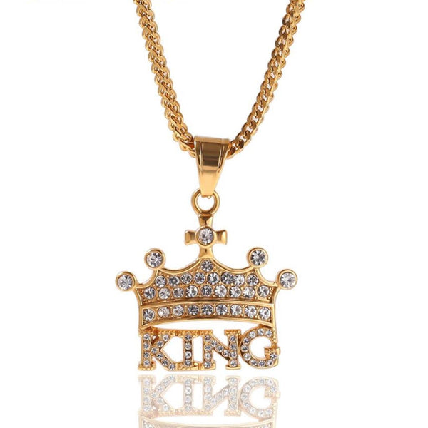 Iced KING Crown Charm Pendant 18K Gold Plated