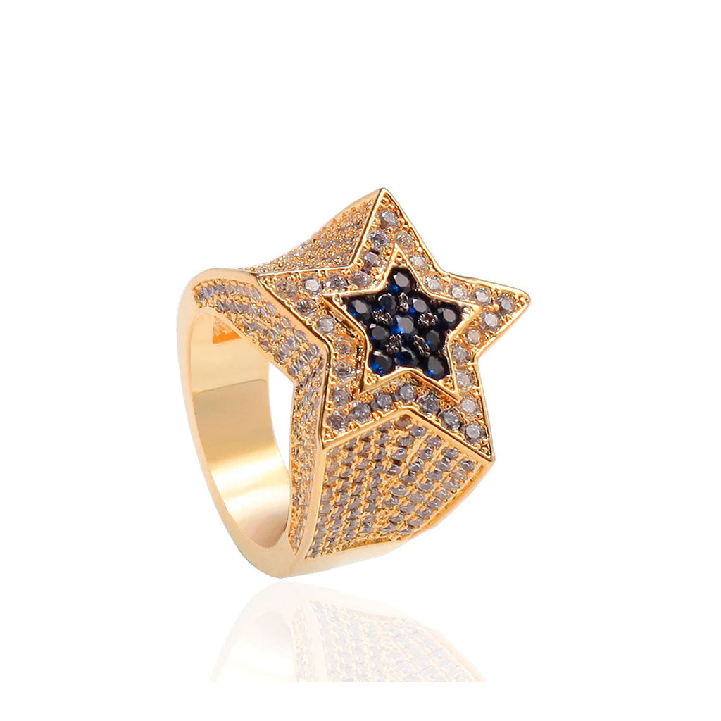 Iced Out Star Ring Pentagram
