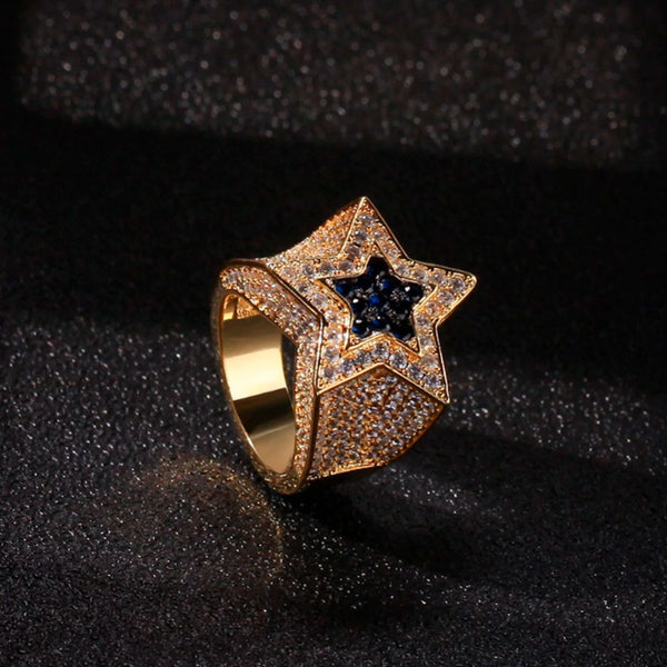 Iced Star Ring Pentagram 18K Gold Plated
