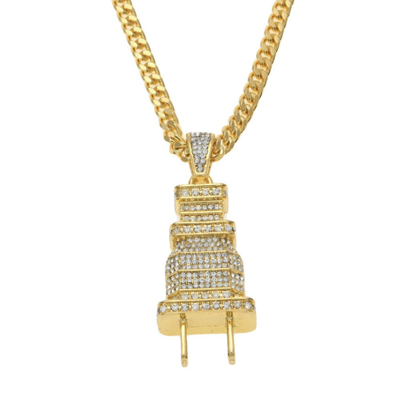 Iced Plug Pendant 18K Gold Plated