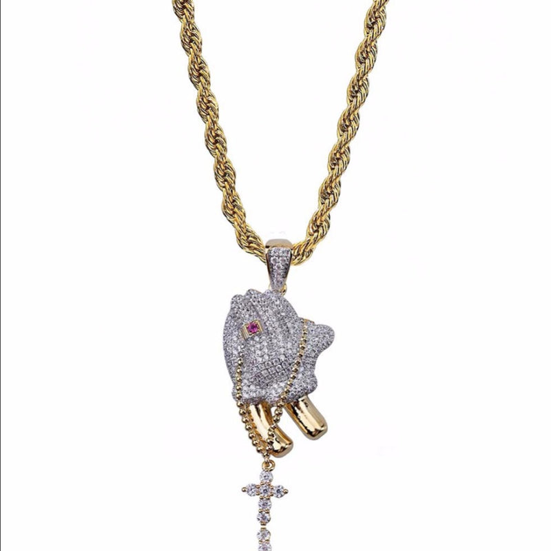 Iced Prayer Hands Pendant 14K Gold Plated