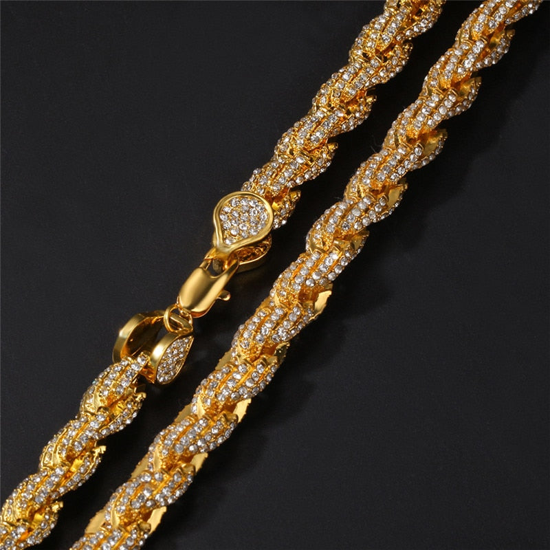 9mm Iced Rope Chain Necklace