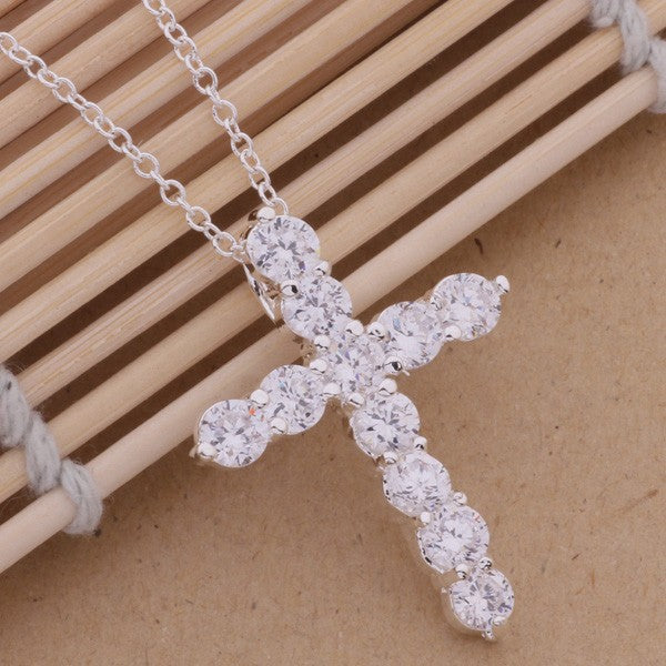 18K Gold Finish S925 Silver Cross Plated necklace