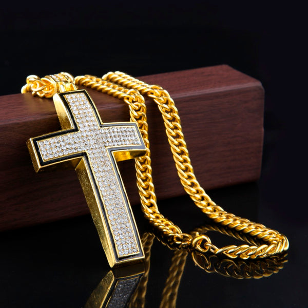 Iced Crucifix Cross Pendant 14K Gold Plated