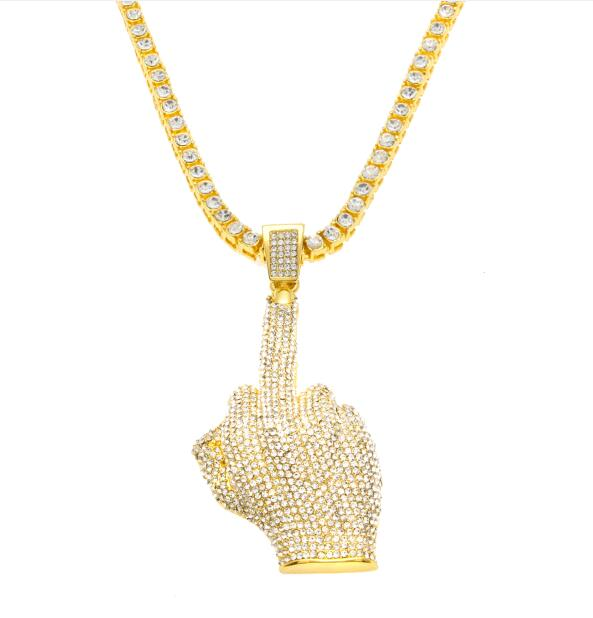 18K Gold Finish S925 Silver Middle Finger Pendant