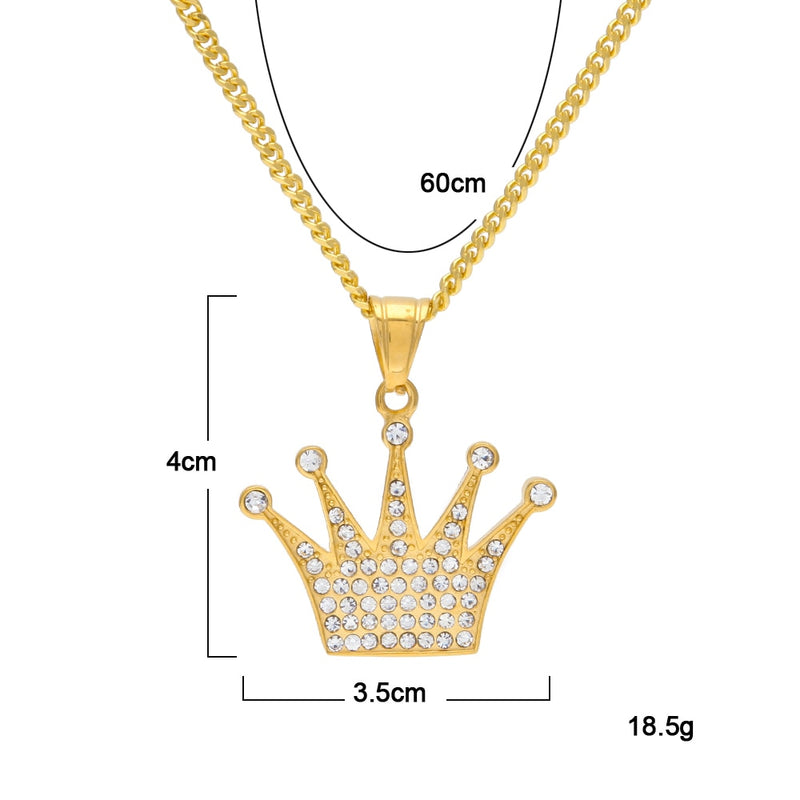 Iced Diamond Crown Pendant 14k Gold Plated