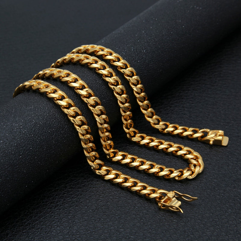 Miami Cuban Link Chain Stainless Steel 18K Gold