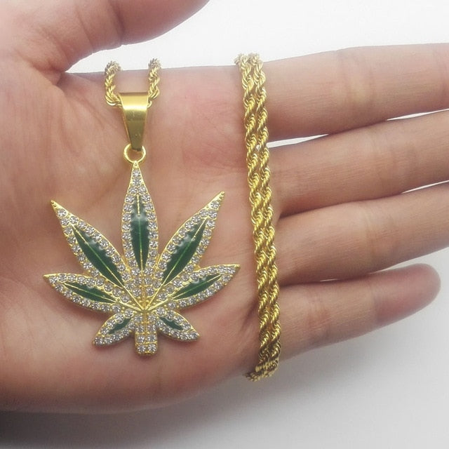 Iced Hip Hop Leaf Pendant 14K Gold Plated