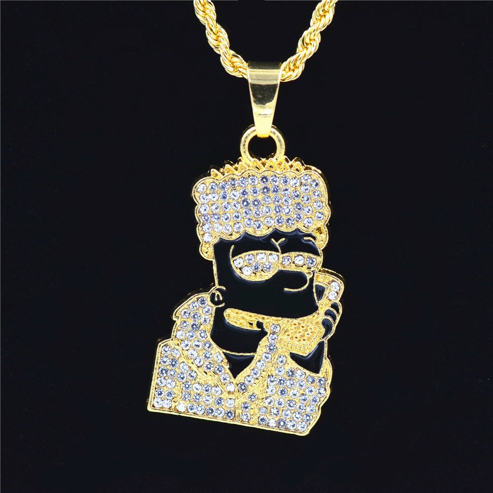 18K Gold Finish S925 Silver Bart Simpson Head Pendant