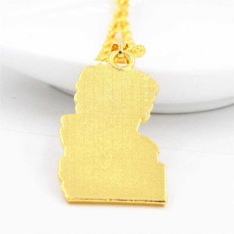Iced Bart Simpson Head Pendant 14k Gold Plated