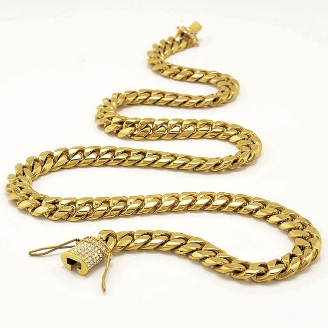 18K Gold Cuban Link Chain Iced Clasp