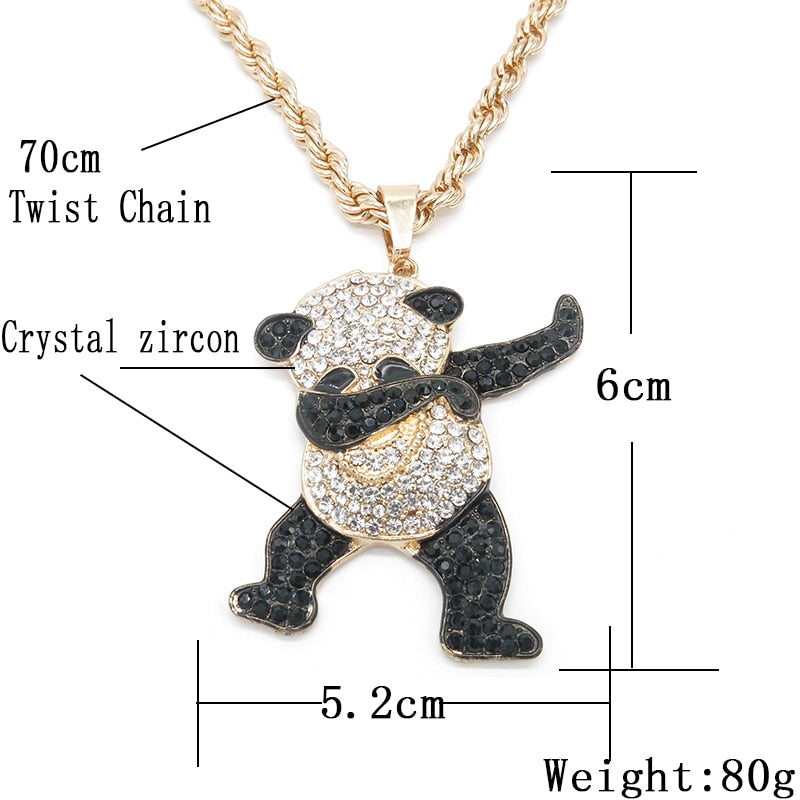 Iced Dancing Panda Pendant 14K Gold Plated