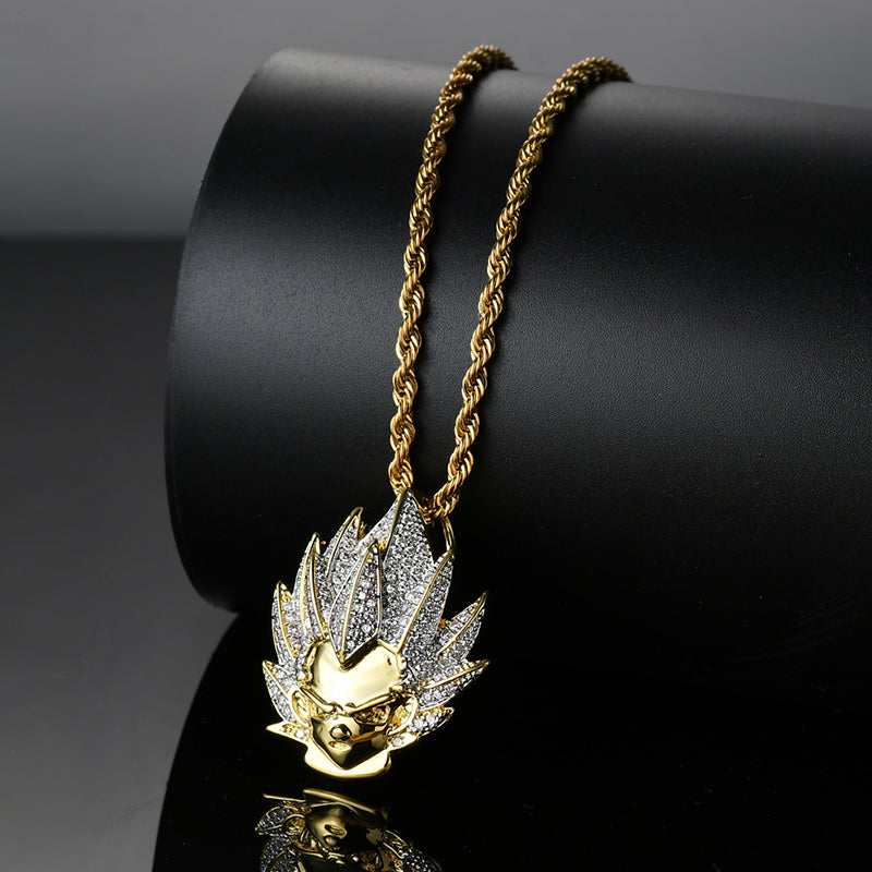 Iced Out Dragon Ball Super Saiyan Vegeta Pendant