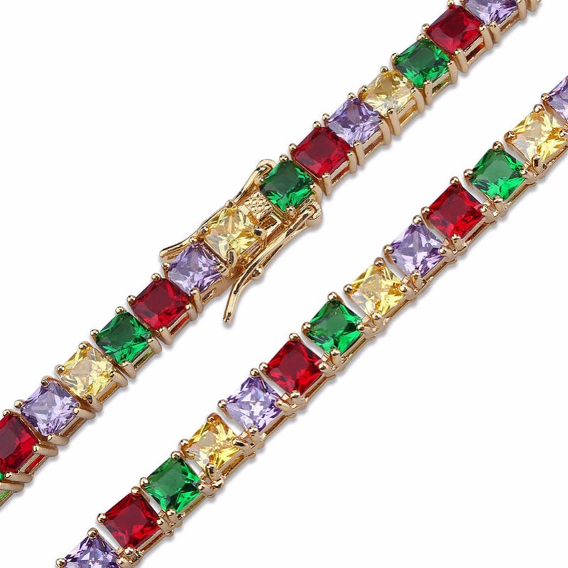 18K Colored Iced Tennis Bracelet