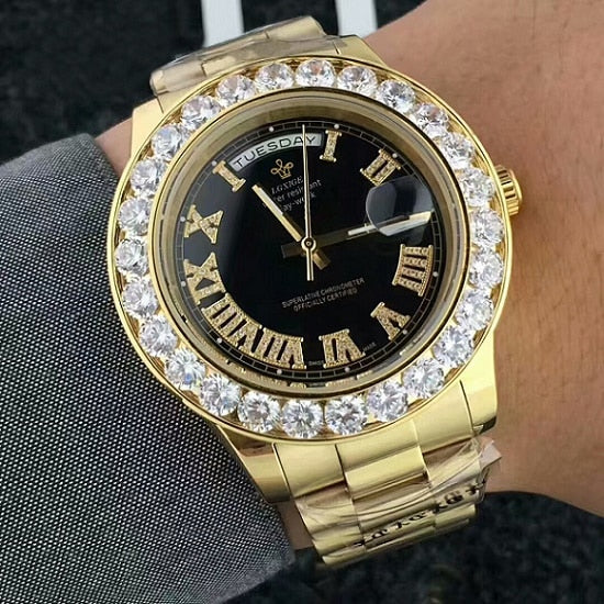 18K Gold Finish Presidencial Diamond Watch