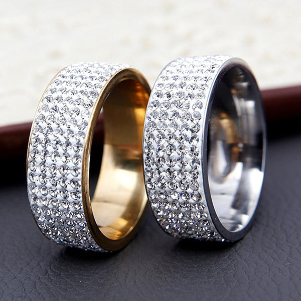 Gold Silver Iced Infinity Ring Wedding