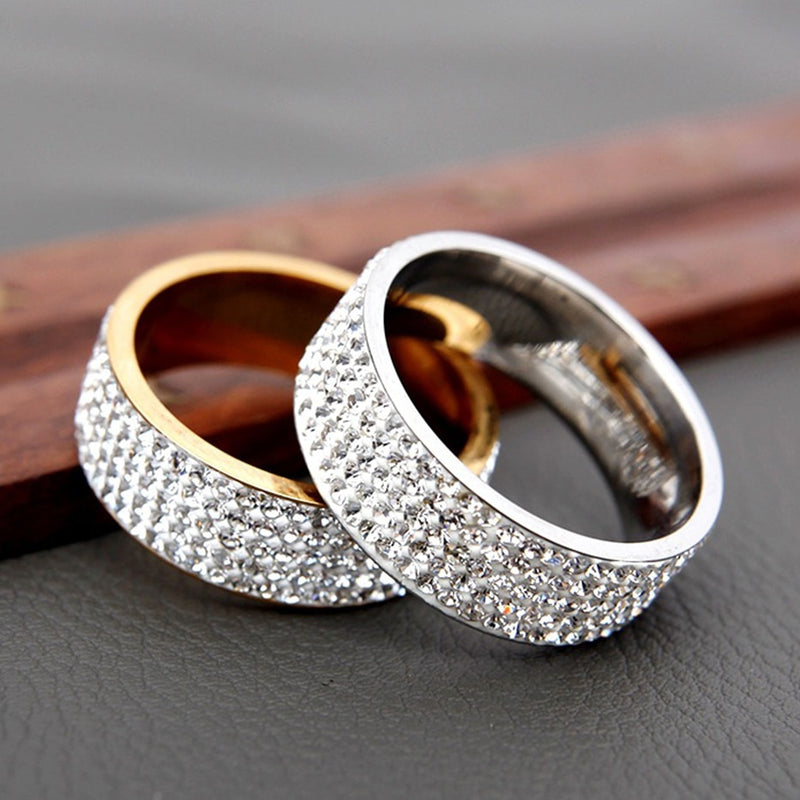 Gold Silver Iced Out Infinity Ring Wedding